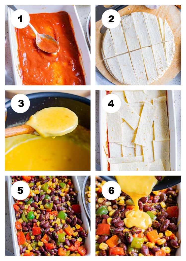 2nd photo collage showing steps for how to make Vegetarian Enchilada Casserole