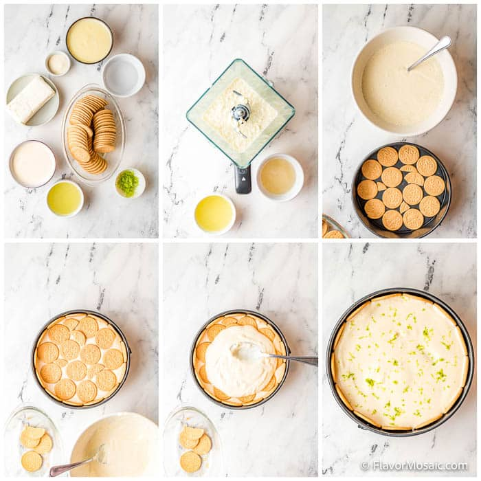 Photo collage with 6 photos showing overhead views of each step of the process off making the Lime Charlotte Icebox Cake dessert recipe.