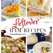 4-Photo Collage for Leftover Ham Recipes showing quiche, soup, sandwich, and casserole.