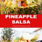 2-photo pin of Pineapple salsa with red label and white letters with title in the middle
