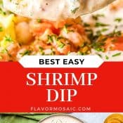 2-Photo collage of Shrimp Dip with red label and title in white letters.