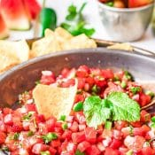 Single photo Watermelon Salsa with red label at the top with the title in white letters.
