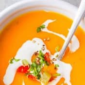 Instant Pot Butternut Squash Soup - 1-Photo Pin Top Red and White Label v6