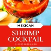 2-Photo Pin Mexican Shrimp Cocktail with blue background and red label with white text with recipe name.