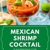 2-Photo Pin Mexican Shrimp Cocktail with green label and white text