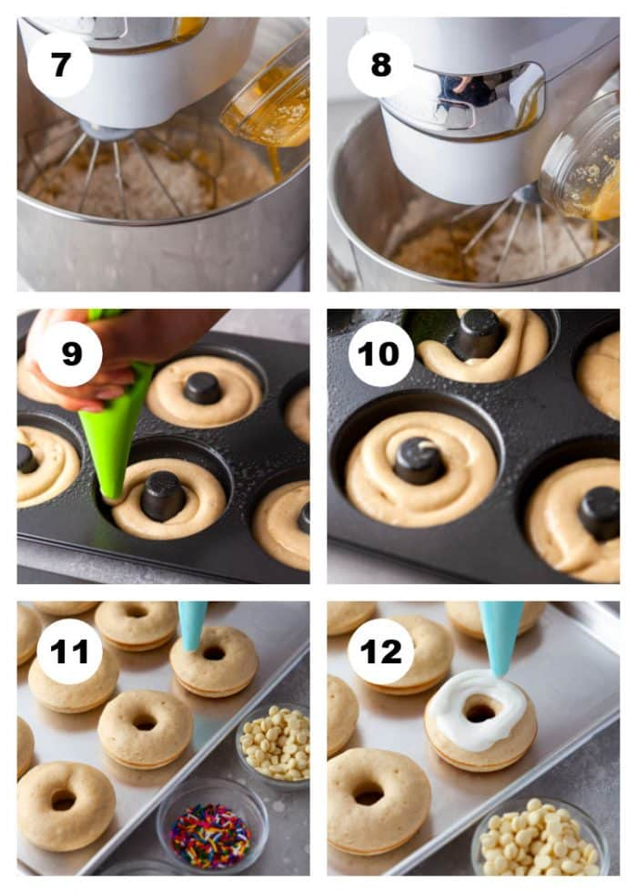 Numbered 6-photo step by step process photo collage showing steps 7 - 12 of how to make Vanilla Frosted Donuts.