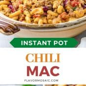 2-photo pin with a side view of bowl of chili Mac with the bottom photo showing a small spoonful of chili Mac held over a bowl of chili Mac.