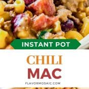 2-photo pin with close up of chili Mac and in the middle block has a white background with orange and rust colored letters