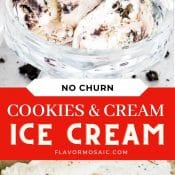 2-photo pin for Cookies and Cream No Churn Ice Cream with red label and white text in the middle.