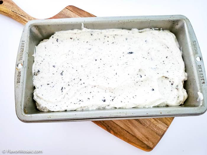 No Church Cookies And Cream Ice Cream in the loaf pan before freezing.