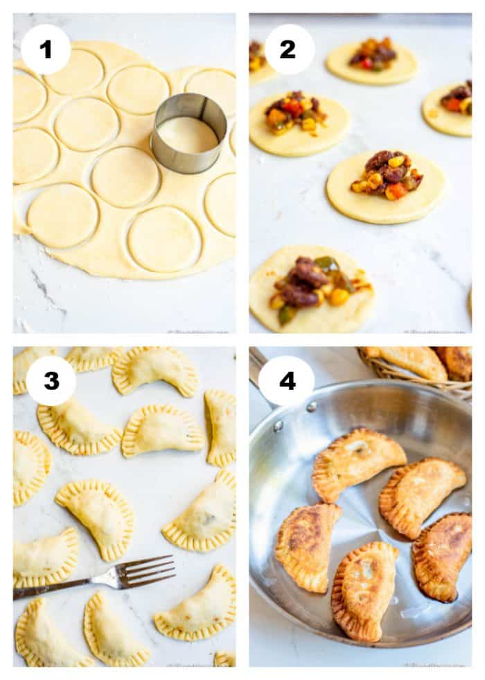 """Step by step empanada instructions. Use a 3.5"""" round cookie cutter to cut the shape.  Reroll scraps to cut more rounds. You will get 20-23 rounds."""