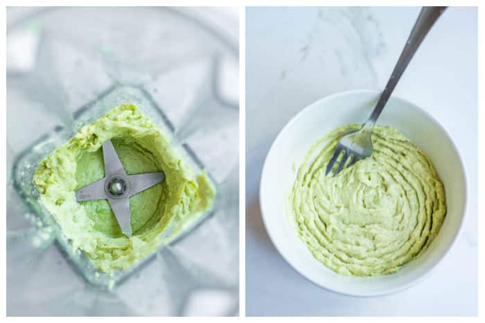 2-photo collage with an overhead view of the avocado cashew dip in the blender and then in the bowl.