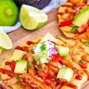 BBQ Chicken Tostadas Recipe - 1-Photo Pin Top Red and White Label v6