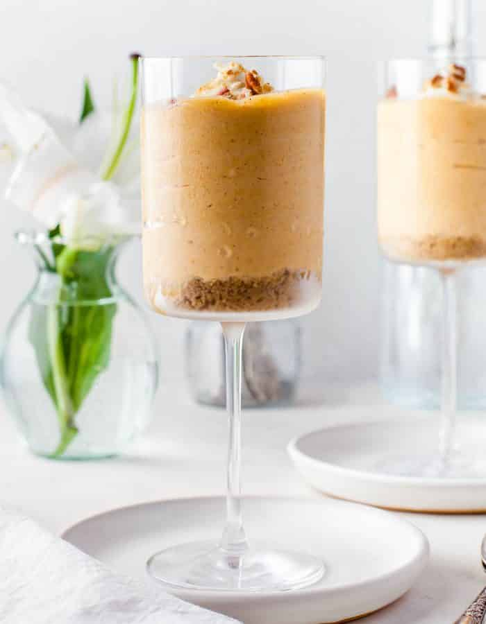 Side view of No Bake Pumpkin Cheesecake Mousse