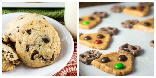 Christmas Chocolate Mint Chip Cookies and Reindeer Cookies Collage