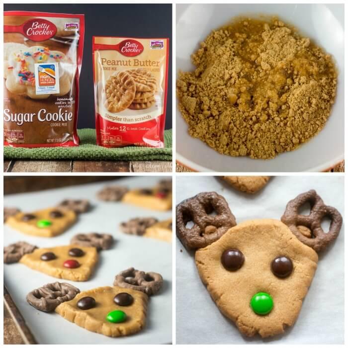 Christmas Peanut Butter Reindeer Cookies Collage