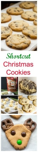 Shortcut Christmas Cookies, made with Betty Crocker Cookie Mixes, make Chocolate Mint Chip Sugar Cookies and Peanut Butter Reindeer Cookies. #BakingWithBetty #ad