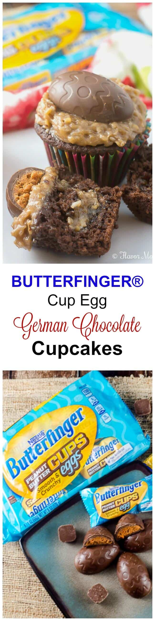 #EggcellentTreats #CollectiveBias BUTTERFINGER® Cup Egg German Chocolate Cupcakes are fun sweet treats for Easter that are easy to make, and that the whole family will love! Each German Chocolate Cupcake is topped with a sweet BUTTERFINGER® Cup Egg, with a smooth and crunchy peanut butter filling and the smooth and creamy milk chocolate shell, and stuffed with BUTTERFINGER® Minis for more Easter chocolate fun! @butterfinger #EggcellentTreats #ad