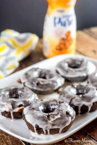 Chocolate Mocha Caramel Baked Donuts