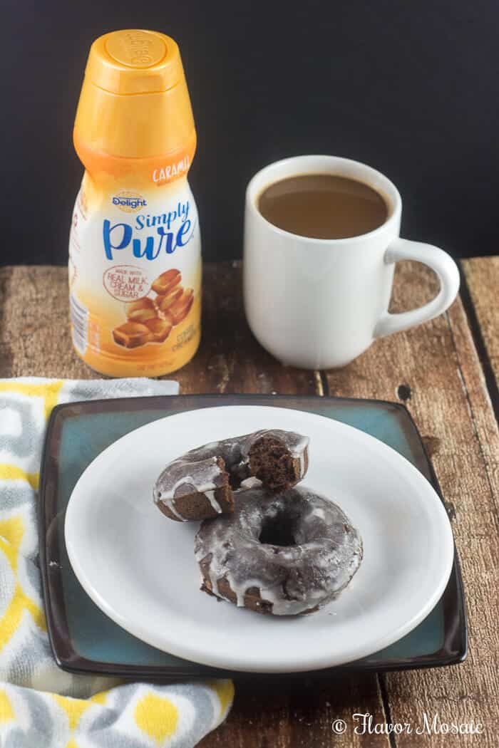 Chocolate Mocha Baked Donuts with a Caramel Cream Glaze by Flavor Mosaic