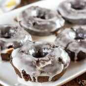 Chocolate Mocha Baked Donuts With a Caramel Cream Glaze