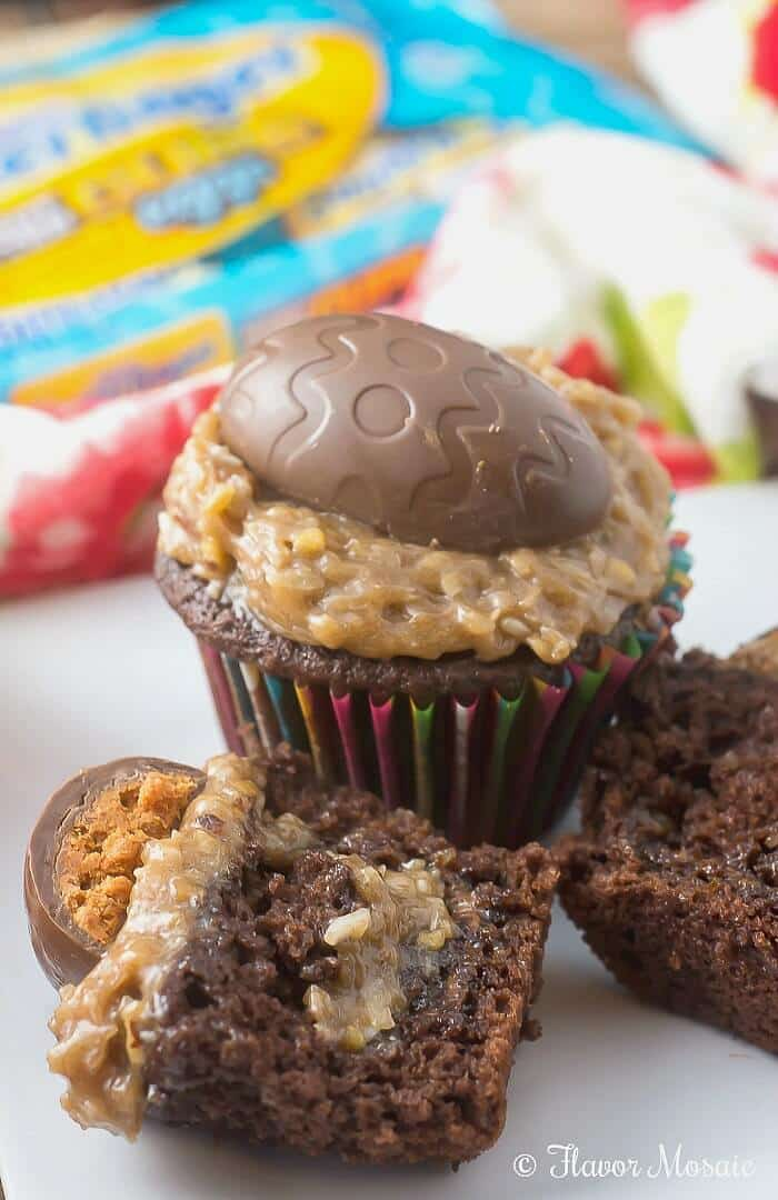 Butterfinger Egg German Chocolate Cupcakes