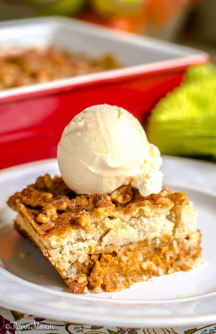 Pumpkin Walnut Crunch Cake - Crumble - Fall Thanksgiving Dessert - Flavor Mosaic
