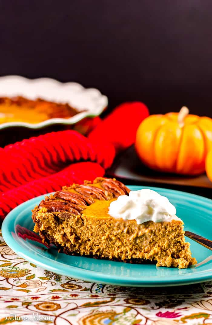 Pumpkin Pie with a Gingersnap Crust and Greek York and less sugar